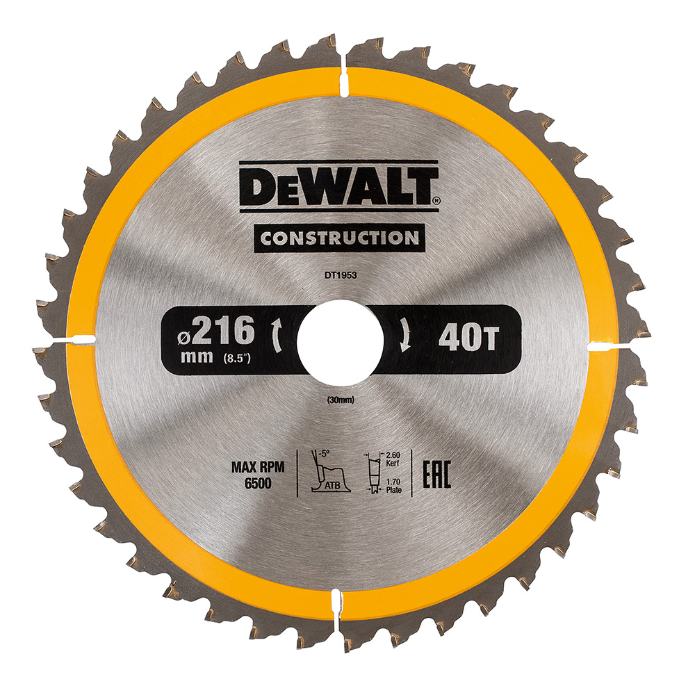 Sagblad for tre DeWalt DT1953-QZ 216 mm 1 stk