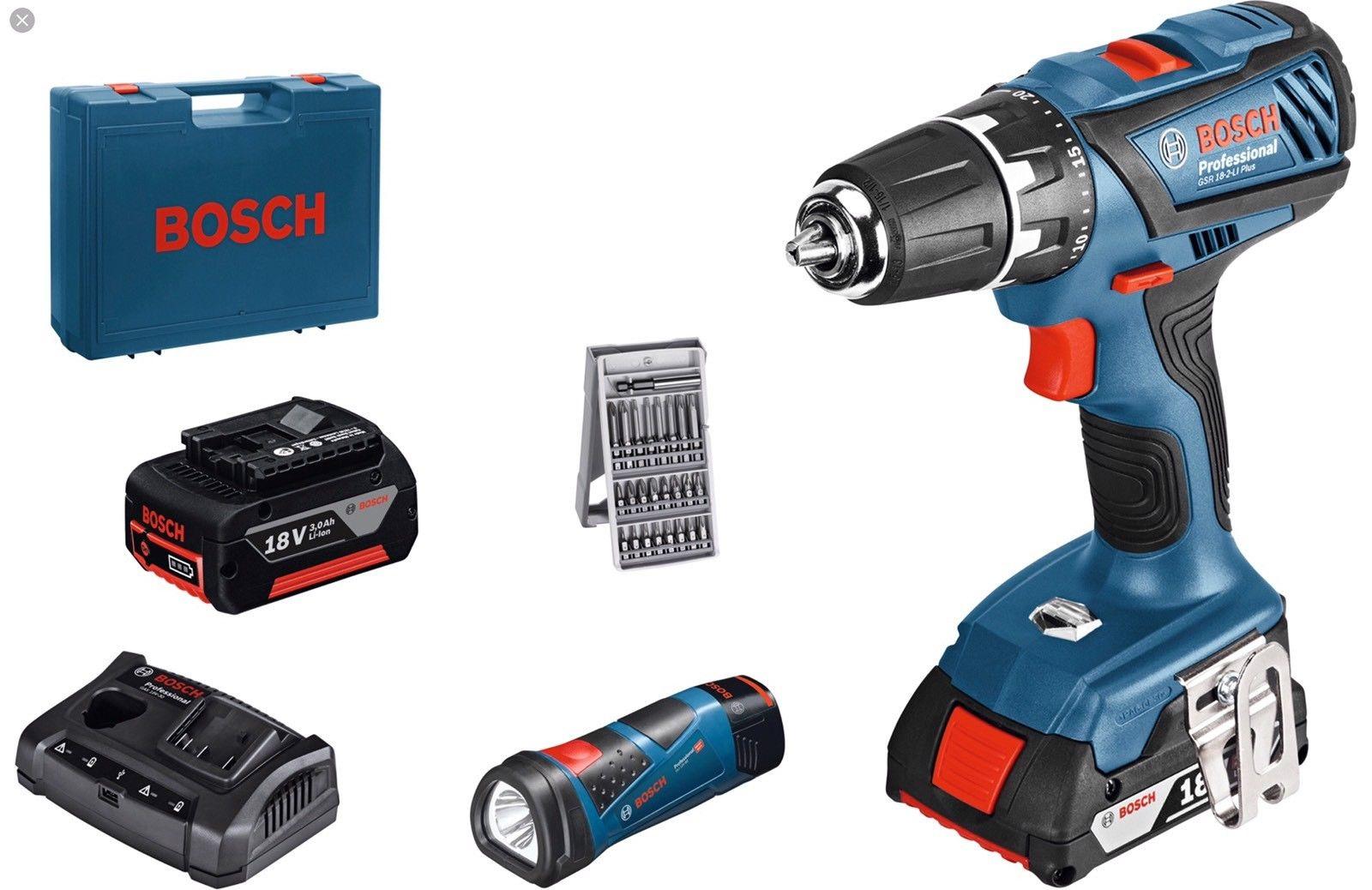 Skrutrekker/bor Bosch GSR 18-2-Li 18 V + GLI 12 V 2x3,0 Ah batt.