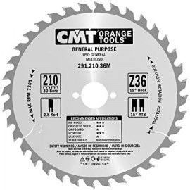 Sagblad for tre CMT 210x2,8x30; Z36; 15°