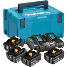 Tilbehørsett Makita Powerpack; 18V; 4x5,0 Ah + DC18RD for 18V-verktøy