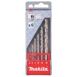 Metallborsett Makita HSS-G; 2-8 mm; 6 stk