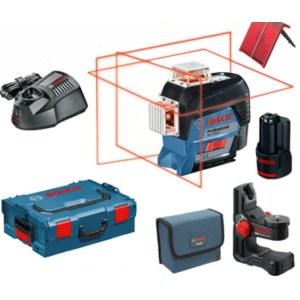 Linjelaser Bosch GLL 3-80 C + BM 1 + L-Boxx; 12 V; 1x2,0 Ah batt.