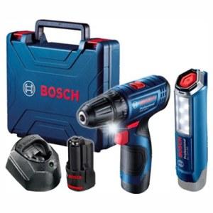 Skrutrekker/bor Bosch GSR 120-Li; 12 V; 2x2,0 Ah batteri. + lommelykt GLI 12V-300