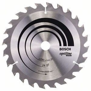 Sagblad for tre Bosch OPTILINE WOOD; 190x2,6x20,0 mm; Z24; 15°
