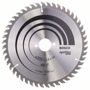 Sagblad for tre Bosch OPTILINE WOOD; 200x2,8x30,0 mm; Z48; 15°