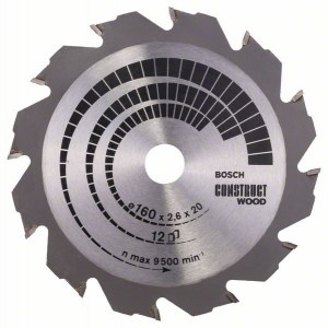Sagblad for tre Bosch CONSTRUCT WOOD; 160x2,6x20,0 mm; Z12; 12°