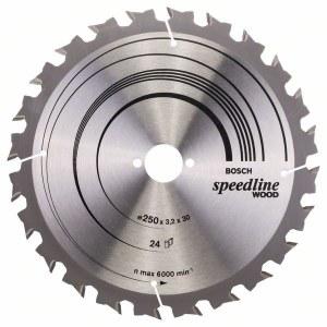 Sagblad for tre Bosch SPEEDLINE WOOD; 250x3,2x30,0 mm; Z24; 15°