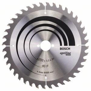 Sagblad for tre Bosch OPTILINE WOOD; 250x3,2x30,0 mm; Z40; 15°