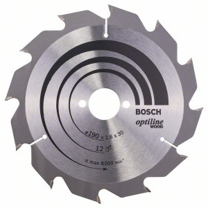 Sagblad for tre Bosch OPTILINE WOOD; 190x2,6x30,0 mm; Z12; 15°