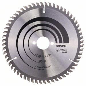 Sagblad for tre Bosch OPTILINE WOOD; 190x2,6x30,0 mm; Z60; 15°