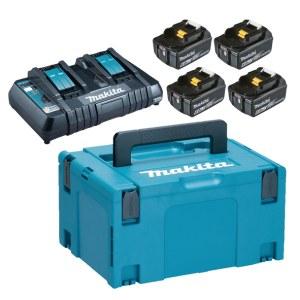 Tilbehørsett Makita Powerpack; 18V; 4x6,0 Ah + DC18RD