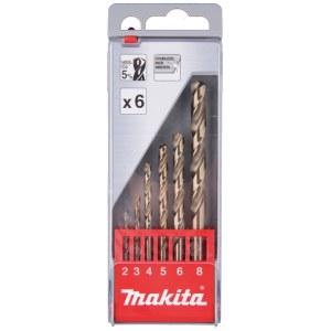 Metallborsett Makita HSS-Co; 2-8 mm; 6 stk