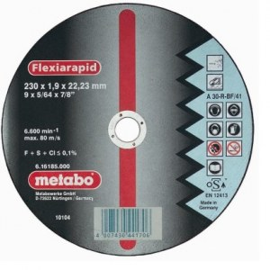 Abrasiv kappeskive Metabo; 230x1,9 mm for metall
